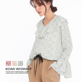 【KOMI】小碎花荷葉軟料襯衫‧三色 (1912-517151)
