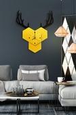 北歐靜音掛鐘 現代簡約客廳臥室時鐘掛表組合裝飾家用創意鹿鐘表 小明同學