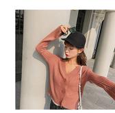 針織衫 素色 毛衣 排釦 V領 喇叭袖 短款 針織外套 M碼【NDF5260】 ENTER