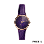 FOSSIL GALAXY 稜彩星系皮革女錶-三色堇紫 33MM ES4727