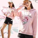 復古粉色花朵刺繡寬鬆連帽T/衛衣 S-XL碼【CE57072】