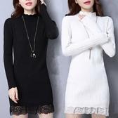 中年服飾系列 全身衣袖都加絨/不加絨冬季新款毛衣女加厚中長款修身打底衫蕾絲 好樂匯