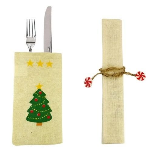 【NF285】聖誕麻布餐具套 聖誕裝飾 聖誕餐桌用品 聖誕麻布餐具套 聖誕禮物袋