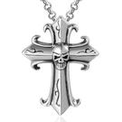 《QBOX 》FASHION 飾品【CSP191】精緻個性復古哥德骷顱頭十字架鑄造鈦鋼墬子項鍊/掛飾
