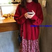 中大尺碼毛衣 大碼胖妹妹顯瘦毛衣套裝裙子女秋冬時尚氣質減齡碎花連衣裙兩件套