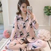 春秋季新款開衫睡衣女長袖可愛兔子韓版開扣少女坐月子家居服套裝 快速出貨