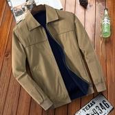 中年外套 雙面穿中老年男士夾克翻領休閑爸爸裝春秋茄克衫中年薄款外套純棉 現貨清倉1-17