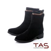 TAS素面絨布拼接水鑽襪靴-溫暖黑