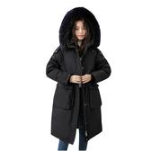 羽絨夾克-貉子毛領長版大口袋抽繩女連帽外套3色73wc20【巴黎精品】