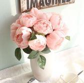 618好康鉅惠歐式仿真玫瑰花圓玫花束茶幾客廳擺設臥室