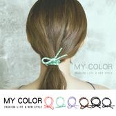 彈性髮圈 多色 髮繩 綁頭髮 紮頭髮 飾品 批發 手繩 素色 韓版 撞色打結髮圈(1入) MY COLOR【Z223】