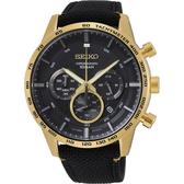 【台南 時代鐘錶 SEIKO】精工 50周年紀念款三眼計時腕錶 SSB364P1@8T63-00H0K 黑/金 46mm