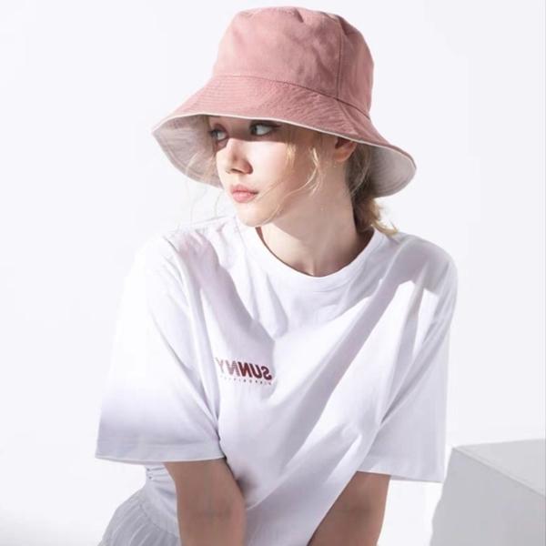 日系雙面漁夫帽 素色極簡純棉遮陽帽【庫奇小舖】