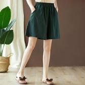 棉麻短褲女夏薄款寬鬆大碼200斤休閒褲顯瘦百搭a字闊腿裙褲五分褲 交換禮物