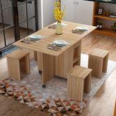 家用 折疊桌 簡易實木小戶型組合長方形刨花板歐式多功能折疊餐桌XW