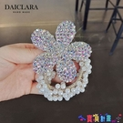 髮圈 髮飾新款花朵水晶頭繩韓國手工珍珠髮繩頭飾手鏈髮圈扎髮 寶貝 上新
