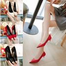 金屬尖頭高跟鞋淺口細跟單鞋5cm中跟時尚百搭工作鞋 格蘭小舖
