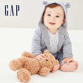 Gap嬰兒 布萊納系列 Logo小熊圖案正反兩穿連帽休閒外套 592524-鈷藍色