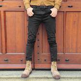 窄腳褲 微彈力百搭磨破洞男裝黑色修身牛仔褲 koko時裝店