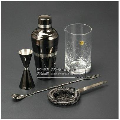 酒吧傳奇 臺灣製造Bar Miracle日式三段式510ml 調酒五件套裝(黑色)