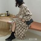 連身裙-早秋裝年新款法式復古收腰顯瘦襯衫格子長袖裙子氣質連身裙女 夏沫之戀