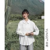 長袖襯衫長袖寬鬆百搭棉質襯衣女秋季新品韓版純棉寬鬆百搭白襯衫