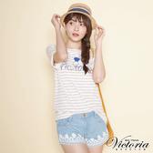 Victoria 天絲棉織帶繡花短褲-女-淺藍-V5516272