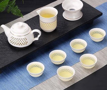 茶具 玲瓏鏤空陶瓷功夫茶具套裝家用泡茶杯茶壺景德鎮簡約蓋碗客廳小套【快速出貨八折搶購】