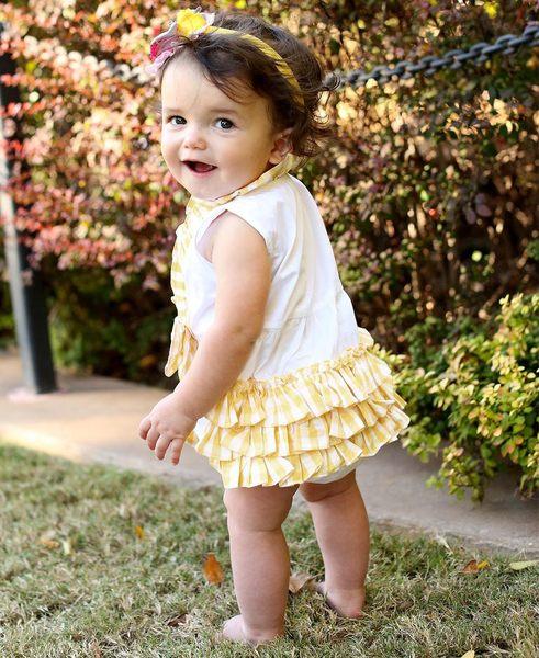 【美國 RuffleButts】純棉連身衣- 黃色格紋荷葉皺摺 ONWWHXX-YGBB
