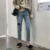春裝女裝韓版寬鬆高腰顯瘦破洞牛仔褲直筒褲九分褲學生闊腿褲長褲 東京衣櫃