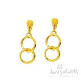 威世登 黃金流線型垂吊式耳環(矽膠耳束) 約0.87~0.89錢 GF00495-HXX-FIX