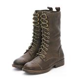 MICHELLE PARK 帥氣騎士風柔軟蠟感羊皮拉鍊綁帶馬丁短靴軍靴 - 棕綠