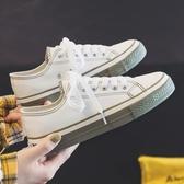 帆布鞋2020秋季新款秋款帆布潮鞋小白鞋女韓版百搭學生白鞋布鞋休閒板鞋 新年禮物