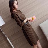 針織洋裝 秋冬季新款韓版女裝過膝針織中長款打底寬松套頭毛衣 Eb18863 『miss洛羽』