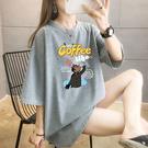 BOBO小中大尺碼【2350】寬版彩色塗鴉coffee短袖衣 共7色 現貨