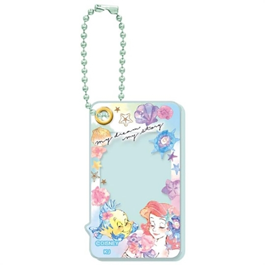 小禮堂 迪士尼 小美人魚 造型壓克力相片吊飾 相框鑰匙圈 相框吊飾 (綠 閉眼) 4935124-52666