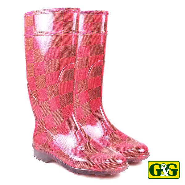 【G&G】紫紅霓虹格紋長筒雨靴 (415L-PIN)