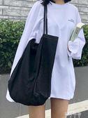 韓版牛仔包大容量購物袋學生文藝小清新原宿單肩帆布包女ulzzang 蓓娜衣都
