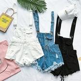 新款韓國寬鬆牛仔背帶褲女夏季學生高腰破洞毛邊吊帶褲短褲潮