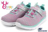 SKECHERS小童運動鞋 輕量彈性舒適 寶寶跑步鞋P8214#灰粉◆OSOME奧森童鞋/小朋友