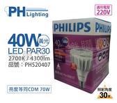 PHILIPS飛利浦 LED PAR30 40W 30度 2700K 黃光 220V E27 燈泡 _ PH520407