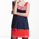【ohoh-mini孕婦裝】美國風情條紋斜肩拼布孕婦上衣