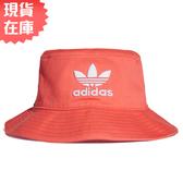 ★現貨在庫★ Adidas Adicolor Bucket Hat 帽子 漁夫帽 流行 休閒 三葉草 刺繡 橘紅 【運動世界】ED9386