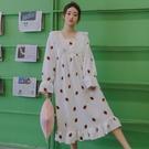 睡裙 正韓甜美加厚加長款法蘭絨睡裙女秋冬季公主風珊瑚絨保暖草莓睡衣