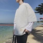 長袖T恤男韓版潮流寬鬆時尚體恤學生休閒帥氣條紋上衣 青山市集