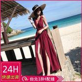 梨卡★現貨 - 度假波西米亞大露背性感後綁帶沙灘連身長裙洋裝連身裙沙灘裙C6412