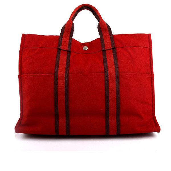 【HERMES】 手提帆布包(深酒紅) HE12000191