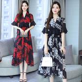 短袖洋裝 中大尺碼連身裙L-5XL胖mm新款清涼雪紡碎花裙中長款超仙顯瘦氣質長裙R031.9285依品國際