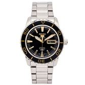 SEIKO 運動盾牌5號機械錶手錶(SNZH57K1)-黑色面x銀色/40mm