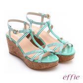 effie 摩登美型 鏡面真皮海軍風繞踝楔型涼鞋  綠